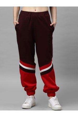 ATHENA Women Burgundy Colourblocked Track pants