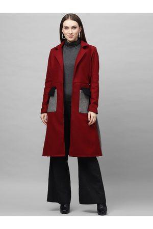 ATHENA Women Burgundy Solid Knee-Length Woollen Overcoat