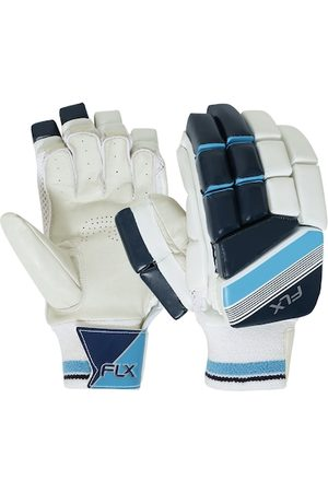 FLX By Decathlon Men White Safety Tested Impact Protection Cricket Batting Gloves GL500