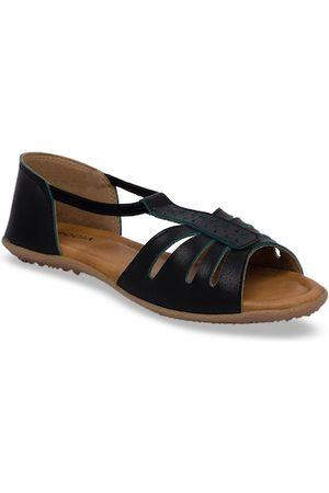 Rocia Women Black Solid Open Toe Flats