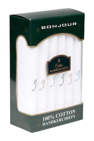 Bonjour Men Pack Of 6 White Solid Handkerchiefs Accessory Gift Set