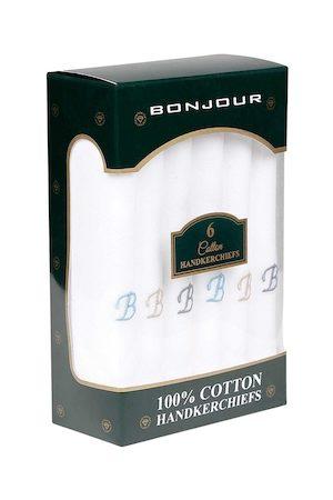Bonjour Men Set Of 6 White Solid Handkerchiefs With B Initials