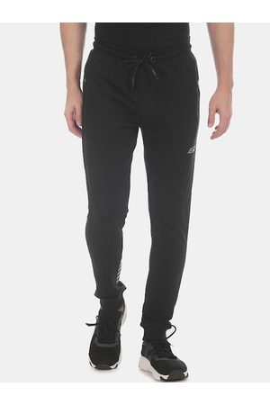ED HARDY Men Black Solid Zip Pocket Joggers