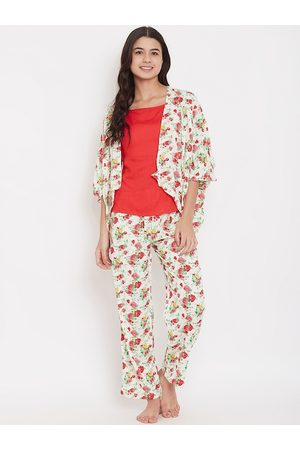 The Kaftan Company Women Off-White & Red Printed Night Suit