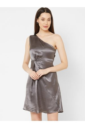 MISH Women Grey Solid Satin Fit and Flare Dress