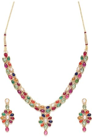 Zaveri Pearls Multicoloured Stone Studded Jewellery Set