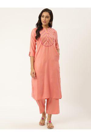 RANGMAYEE Women Peach-Coloured Yoke Design Kurta with Palazzos