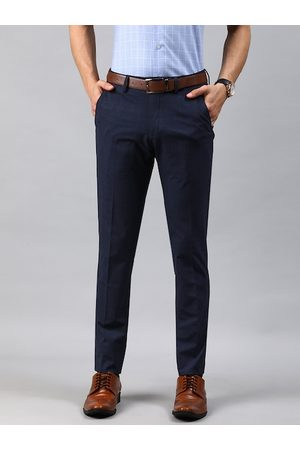 Louis Philippe Men Navy Blue Super Slim Fit Checked Formal Trousers