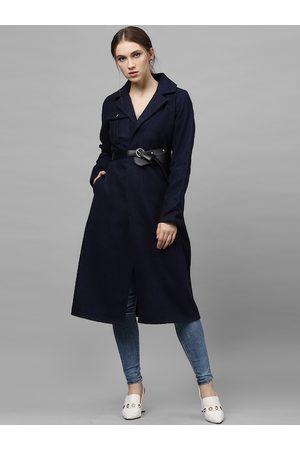 ATHENA Women Navy Blue Solid Woolen Longline Overcoat