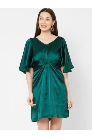 MISH Women Green Solid Fit and Flare Dress