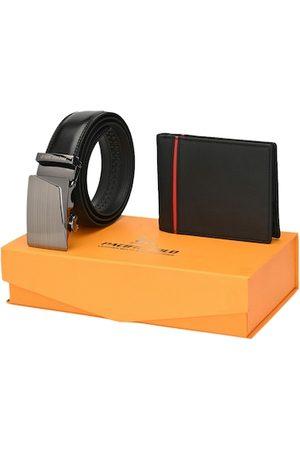 Pacific Men Black Auto Lock Genuine Leather Accessory Gift Set