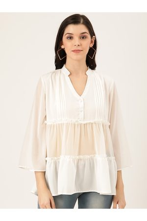 Quiero Women White Self-Striped Semi-Sheer Tiered A-Line Top
