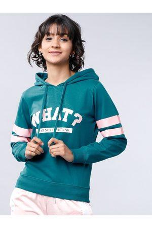 Tokyo Talkies Women Sweatshirts - Women Teal Green Printed Hooded Sweatshirt