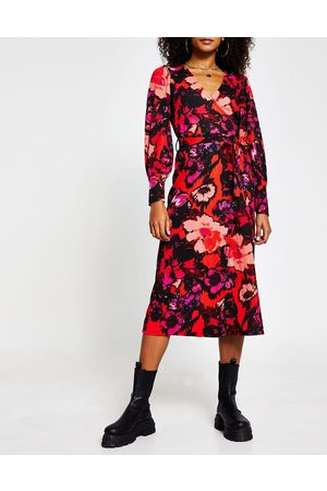 River Island Floral print wrap midi dress in