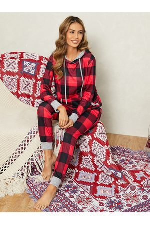YOINS Christmas Plaid Drawstring Long Sleeves Two Pieces Outfit