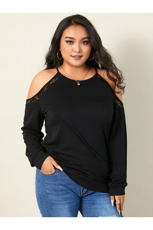 YOINS Plus Size Cold Shoulder Spaghetti Strap Lace Long Sleeves Tee
