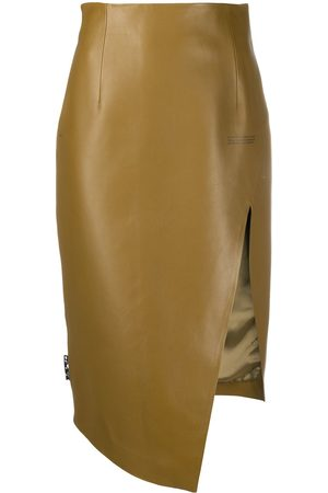 OFF-WHITE Leather asymmetric pencil skirt
