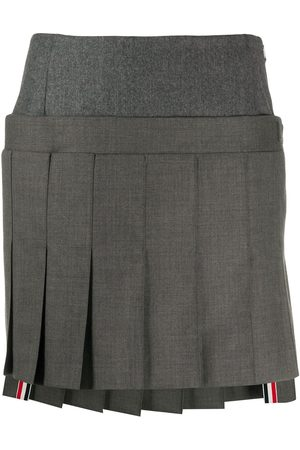 Thom Browne Mini pleated skirt with yoke in super 120's twill