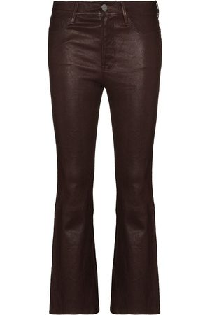 Frame Le Crop leather flared trousers