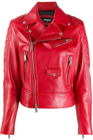 Dsquared2 Women Leather Jackets - Quilted detail zip-up leather jacket