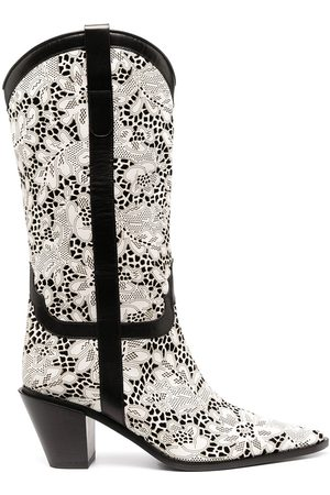 Casadei Perforated floral boots