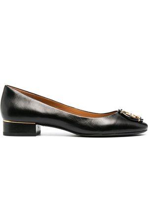 Tory Burch Logo-plaque leather ballet shoes
