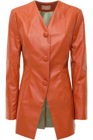 Liya Women Blazers - Faux Leather Blazer