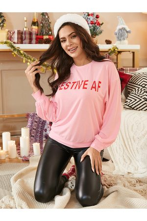 YOINS Letter Crew Neck Long Sleeves Tee