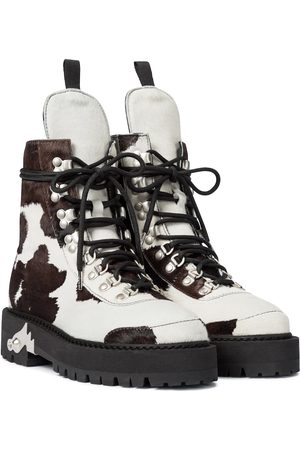 OFF-WHITE Calf hair lace-up boots