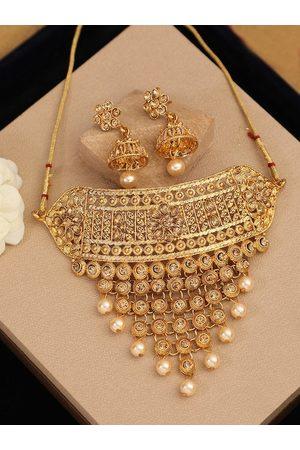 ANIKAS CREATION Gold-Plated White Kundan Studded Handcrafted Jewellery Set
