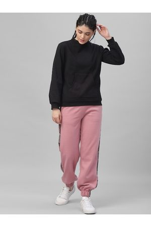ATHENA Women Pink & Black Solid Sweatshirt with Joggers