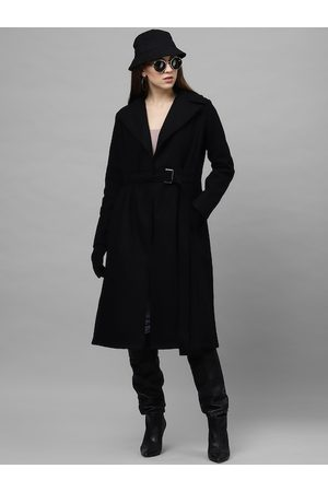 ATHENA Women Black Solid Regular-Fit Longline Overcoat