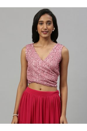Inddus Women Pink Embellished Ethnic Crop Wrap Top With Tie-Ups