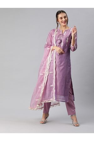 Inddus Women Purple Embroidered Kurta with Trousers & Dupatta
