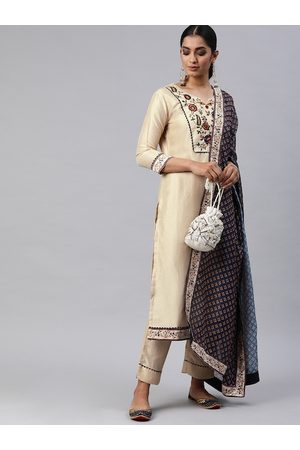 Inddus Women Beige & Navy Blue Floral Embroidered Kurta with Trousers & Dupatta
