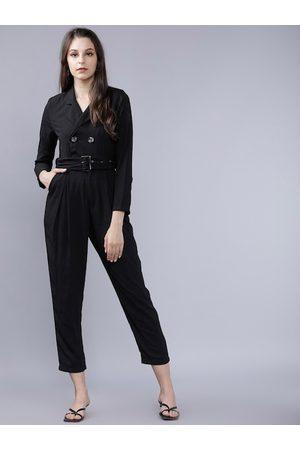 Tokyo Talkies Women Black Solid Capri Jumpsuit