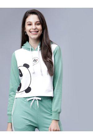 Tokyo Talkies Women Green & White Printed Hooded Sweatshirt