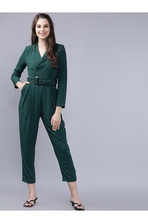 Tokyo Talkies Women Green Solid Capri Jumpsuit