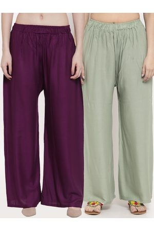 Tag 7 Women Pack Of 2 Solid Straight Palazzos