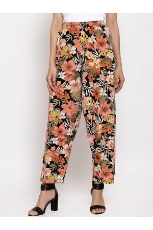 Tag 7 Women Black & Orange Smart Regular Fit Floral Printed Regular Trousers