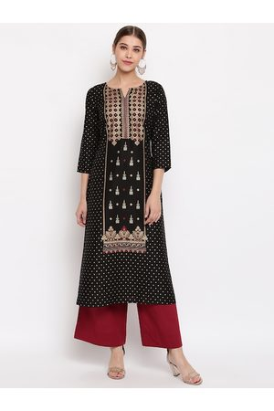 Janasya Women Black & Gold-Toned Foil Printed Straight Kurta