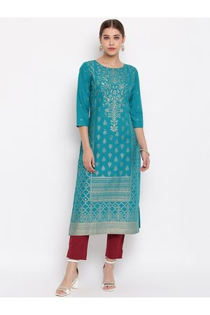 Janasya Women Turquoise Blue & Gold-Toned Printed Straight Kurta