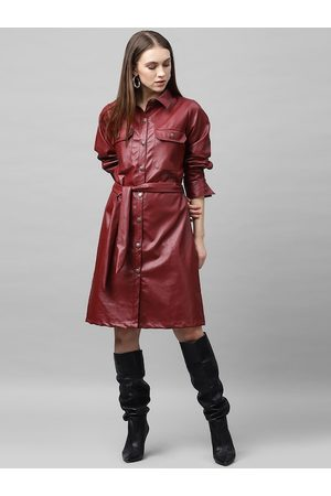 ATHENA Women Maroon Solid Leather Shirt Dress