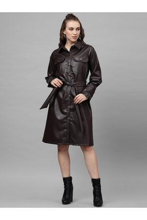 ATHENA Women Coffee Brown Solid Leather Shirt Dress