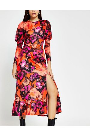 River Island Floral mutton sleeve midi dress in