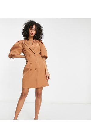 Missguided Blazer dress with puff sleeve in camel