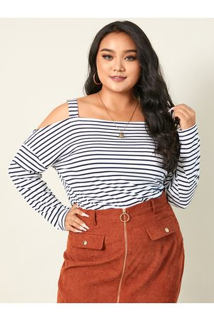 YOINS Plus Size Cold Shoulder Striped Long Sleeves Tee