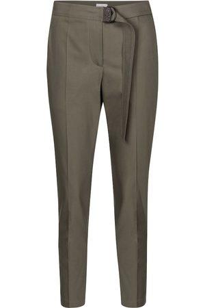 Brunello Cucinelli Belted stretch-cotton slim pants