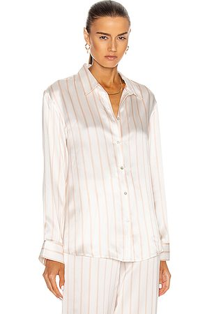 ASCENO The London PJ Top in Blush Stripe