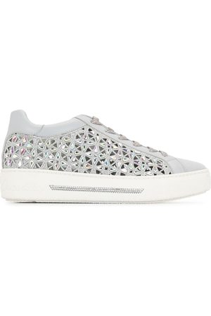 RENÉ CAOVILLA Crystal-embellished cut-out sneakers
